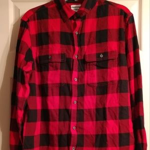 Men's Red Buffalo Plaid Flannel Size M